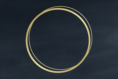 Gold round frame on a clear night sky background illustration