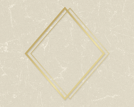 Gold rhombus frame on a beige paper textured background