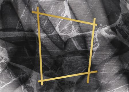 Golden framed trapezium on a marble texture Reklamní fotografie