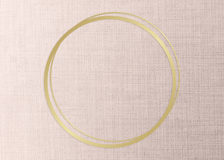 Gold round frame on a peach fabric background illustration