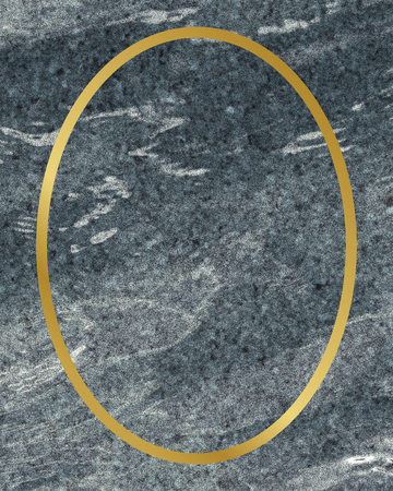 Golden framed oval on a marble texture