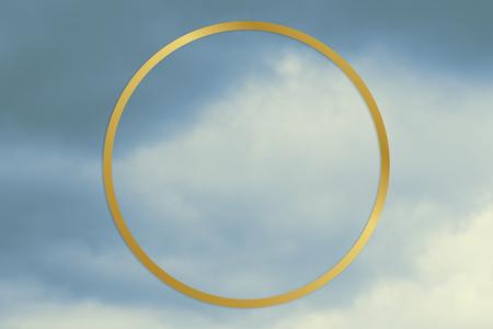 Gold round frame on a blue sky background