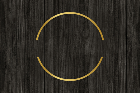 Gold circle frame on a wooden background illustration