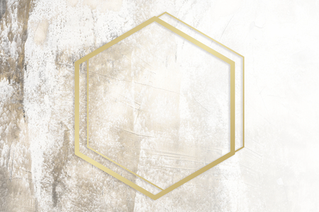 Golden framed hexagon on a grunge texture