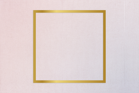 Gold square frame on a pinkish blue fabric background