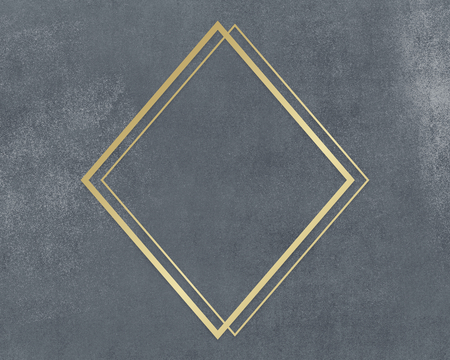 Gold rhombus frame on a gray concrete textured background illustration