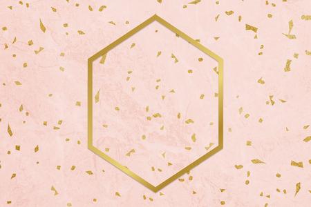 Golden framed hexagon on a pink texture