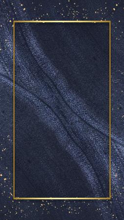 Golden frame on a blue stone background