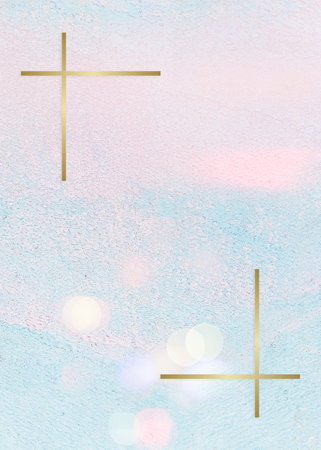 Gold frame on a pastel pink and blue concrete textured background