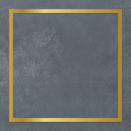 Gold square frame on a gray concrete textured background Imagens