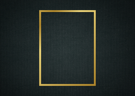 Gold rectangle frame on a dark fabric textured background
