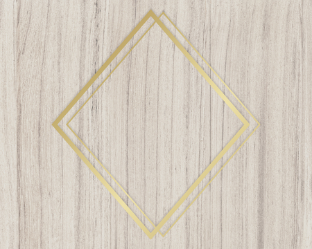 Gold rhombus frame on a wooden background