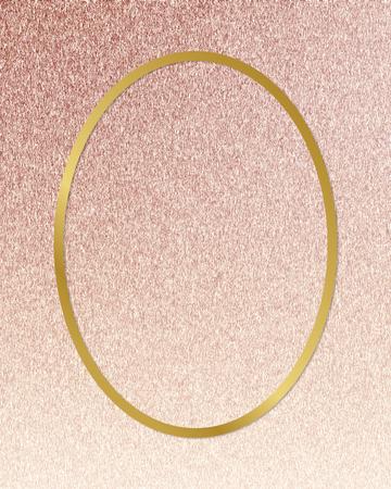 Gold oval frame on a rose gold background Standard-Bild - 120341264