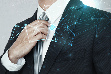 Closeup of a businessman in a black suit Imagens