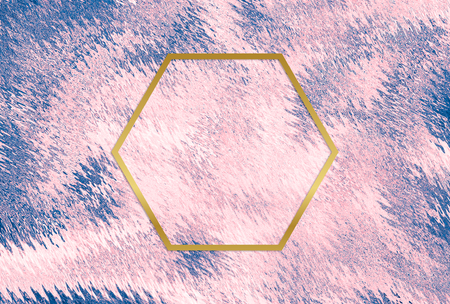 Gold  hexagon frame on a pink abstract background