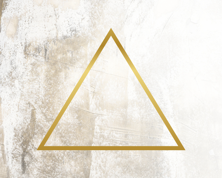 Golden framed triangle on a grunge texture
