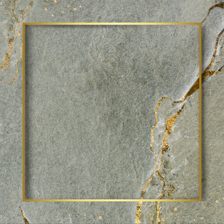 Golden square frame on a marble textured background Banque d'images