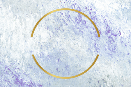 Gold round frame on a blue abstract patterned background Stock Photo