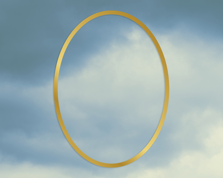Gold oval frame on a blue sky background illustration
