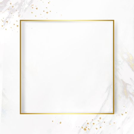 Golden square frame on a marble textured background