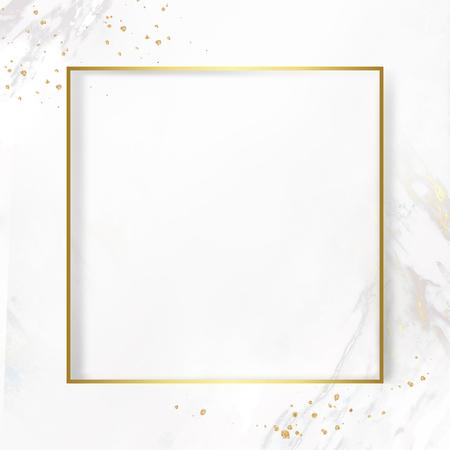 Marco cuadrado dorado sobre un fondo con textura de mármol