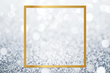 Golden framed square on a glitter texture
