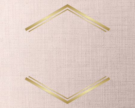 Gold hexagon frame on a peach fabric background Reklamní fotografie
