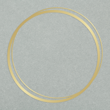 Gold circle frame on a gray concrete textured background Imagens