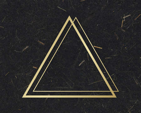 Gold triangle frame on a black mulberry paper textured background Stok Fotoğraf