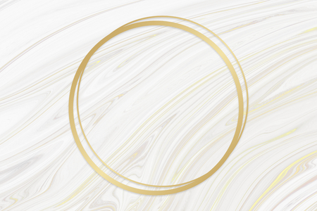 Golden framed circle on a liquid marble texture 写真素材