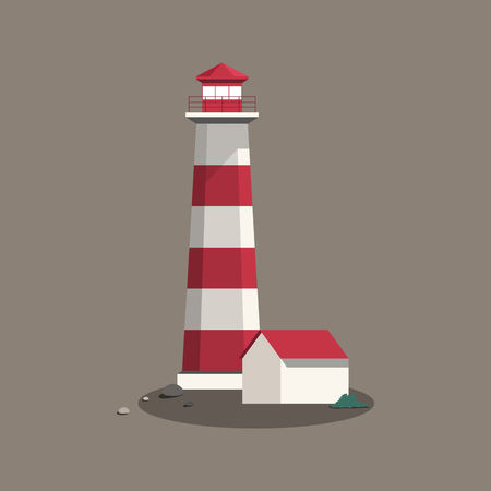 Summer lighthouse and a house vector 일러스트