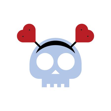 Grungy skull with heart icon headband vector