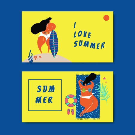 Female character enjoying summertime collection vector Ilustrace