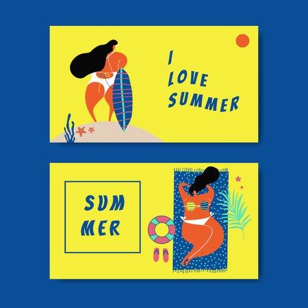 Female character enjoying summertime collection vector Çizim