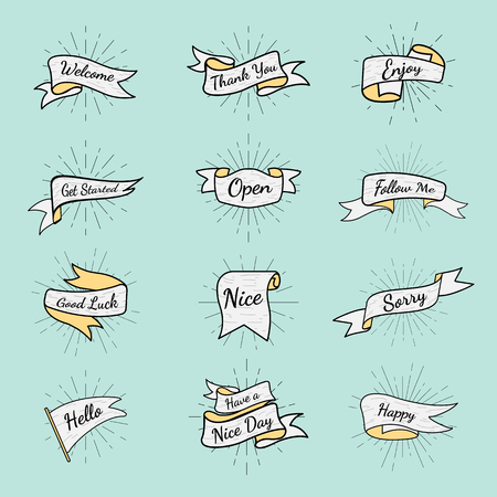 Banners with texts vector set
