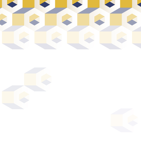 3D yellow and blue hexagonal patterned background vector Ilustração