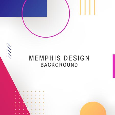Bunter geometrischer weißer Memphis-Hintergrundvektor