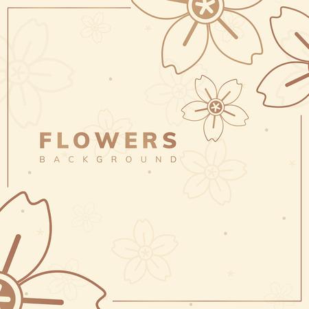 Brown flower border frame vector