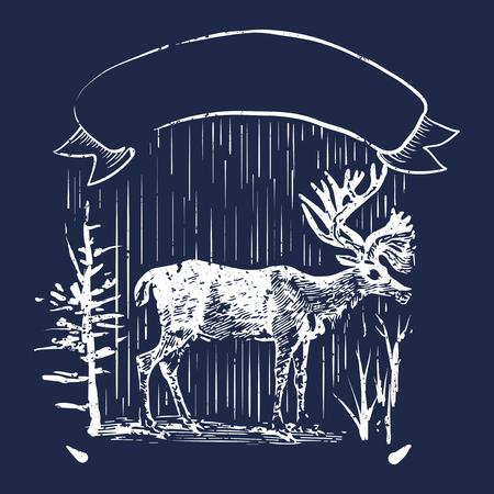 Male deer illustration badge vector Illustration