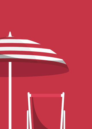 Umbrella and chair on a red background vector