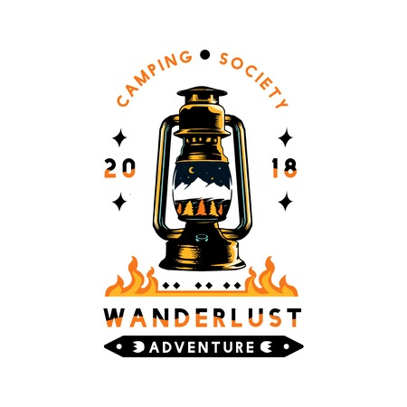 Camping society wanderlust adventure vector Stock Illustratie