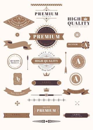 Vectores de conjunto de elementos de diseño premium vintage Ilustración de vector