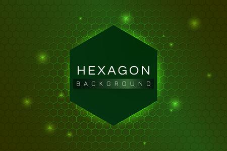 Green hexagon background design vector Çizim