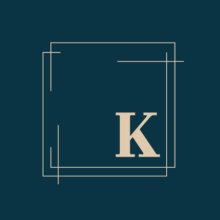 Quadratisches Abzeichen auf blauem Hintergrundvektor Vektorgrafik