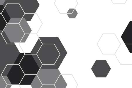 Black and white hexagon geometric patterned background vector Banco de Imagens - 123420001