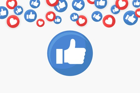 Thumbs up icon on a social media icons border background vector