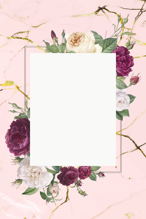 Rectangular frame decorated with roses vector Illustration