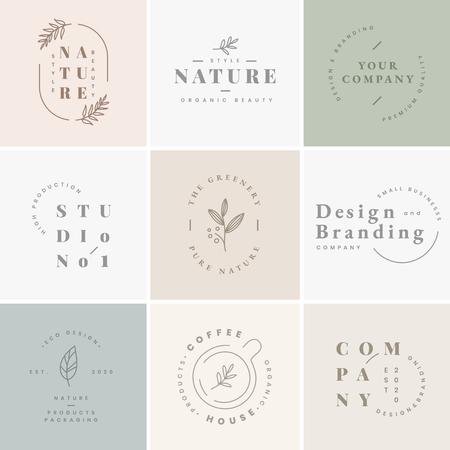 Colección de vectores de diseños de logotipos y marcas florales