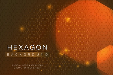 Orange hexagon background design vector