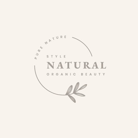 Organic beauty product logo design vector Çizim